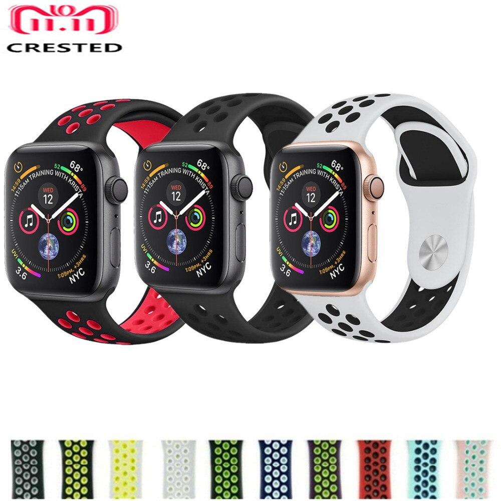 e349ade9da6 CRISTA Esporte banda cinta Para O Relógio Maçã 4 44mm correa 40mm silicone  iwatch série 4 pulseira link pulseira cinto pulseira de nike
