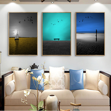 Modern Minimalist Colorful Seaside Landscape Canvas Painting Art Typographic Poster Picture Bedroom Living Room Decoration