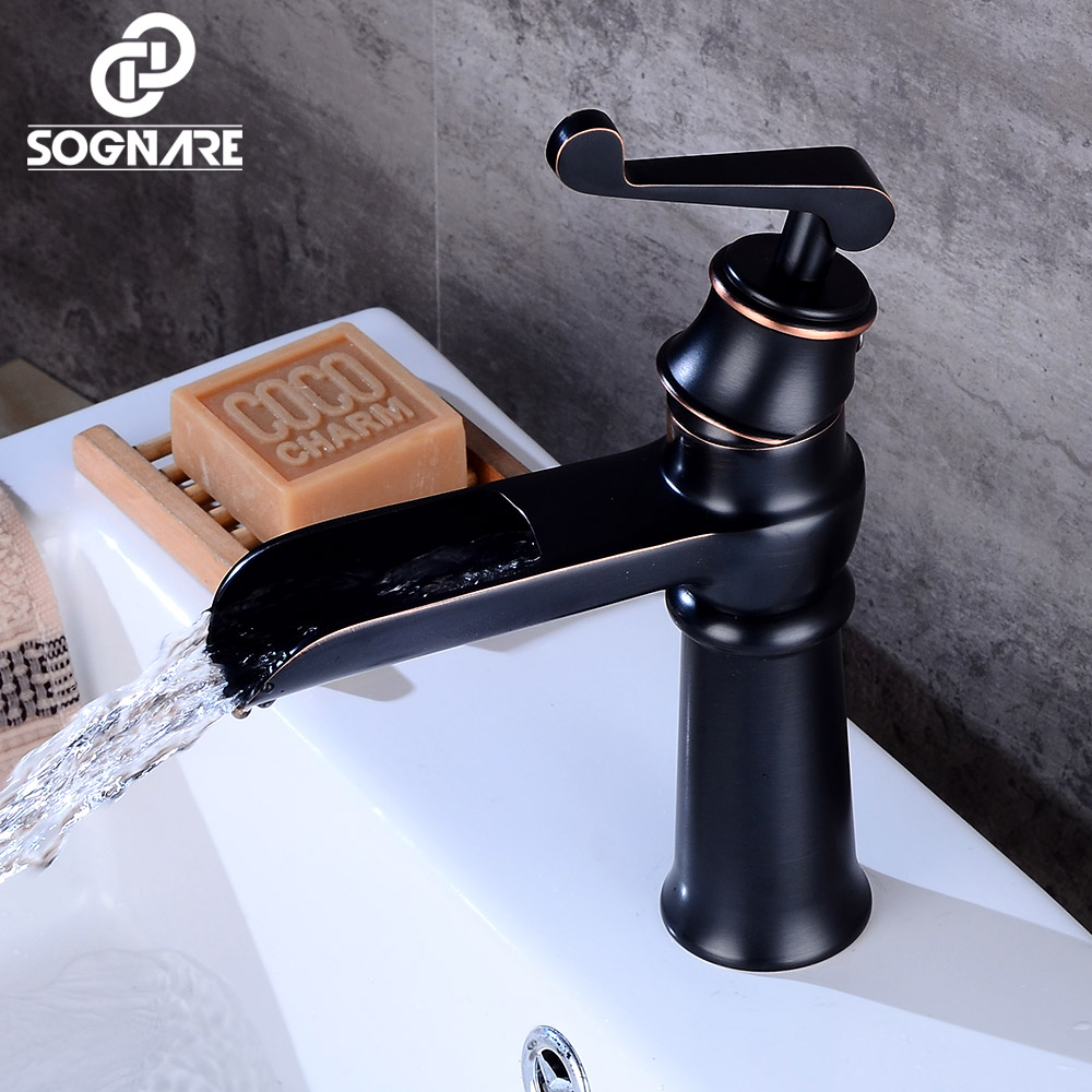 SOGNARE Basin Faucets Bathroom Fixtures in Brass Black Waterfall ...