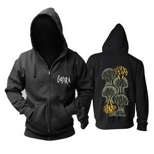 Image 2 - 9 projetos zíper moletom gojira algodão rock hoodies marca escudo jaqueta punk metal streetwear sudadera ilustração mural