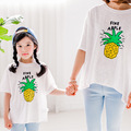 Parent-child outfit summer 2016 new pineapple cartoon printing and daughter of beach sea summer short sleeve T-shirt