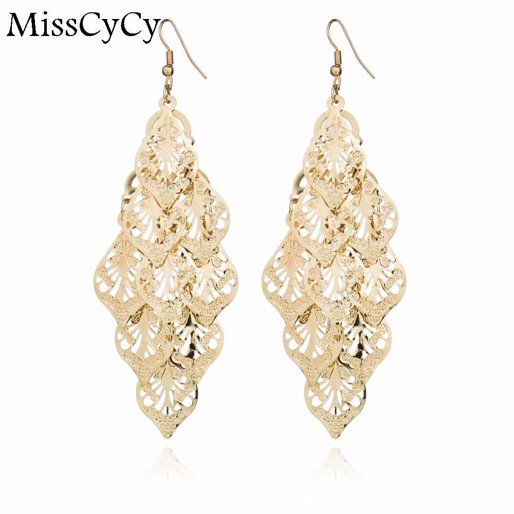 Misscycy Gold Color Metal Multilayer Hollow Leaves Bohemia Drop Earring Basketball  Wives Earrings For Women(