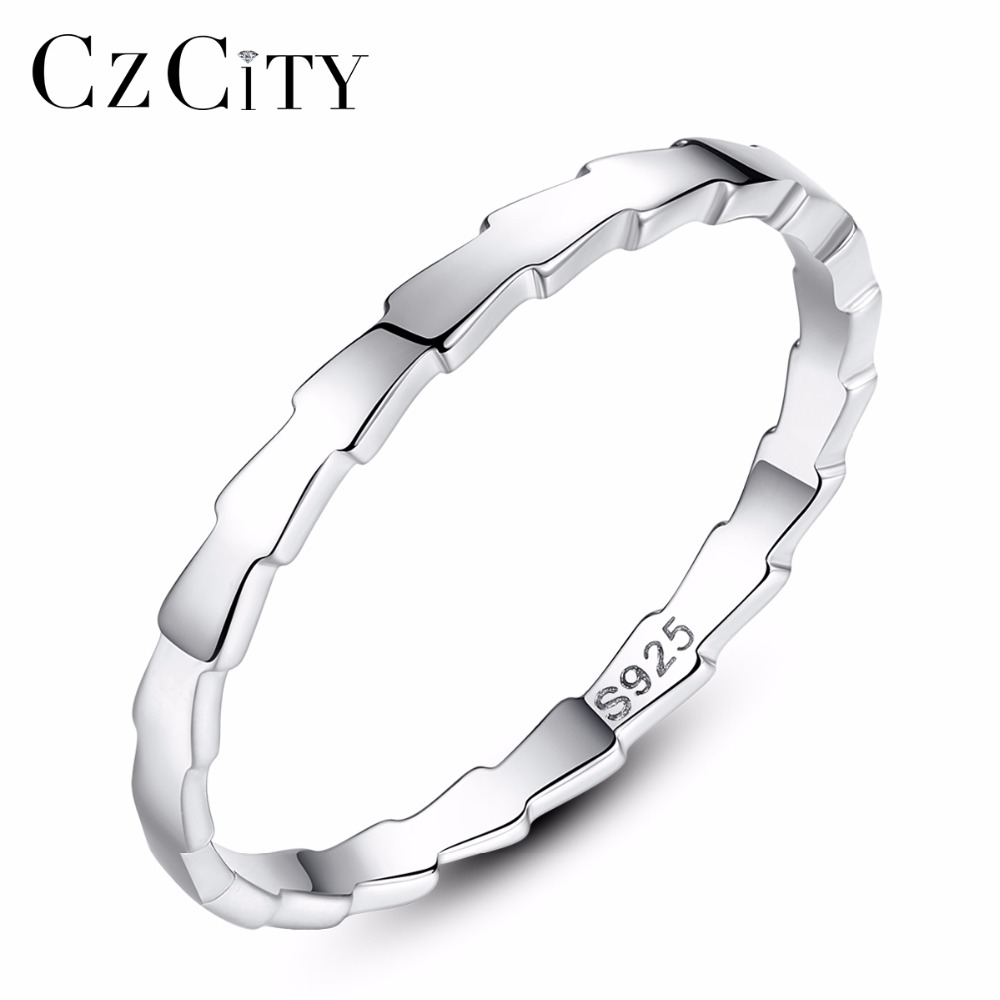 CZCITY Brands Genuine Simple 100% 925 Sterling Silver Sawtooth Melody White Finger Rings For Women Sterling Silver Jewelry Gift