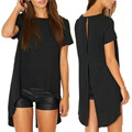 HOT New Women Ladies Sexy High Low Cotton T Shirt Dress Summer Casual Loose Cut Out Vintage Black Club Party Dress Plus Size