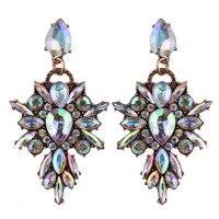 Best lady New Colorful Flower Big Brand Design Luxury Starburst Pendant Crystal Stud Earrings Gem Statement Earrings Jewelry 2