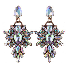 Colourful Flower Starburst Crystal Statement Earrings