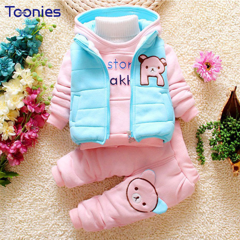 3Pcs Infant Clothes Winter Kids Pants Suits Warm Cotton Girls and Boys Suit High Quality Children Sportswear Cute Thick Clothing toddler girls hello kitty clothes set winter thick warm clothes plus velvet coat pants rabbi kids infant sport suits w133