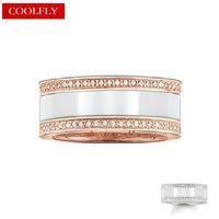 White Ceramic Rings Thomas Style Rose Gold Color with White Zirconia Finger Ring For Women & Men Ts Fashion Jewelry Gifts Bague