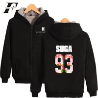 LUCKYFRIDAYF Bangtan Boy Long Hoodie Women Zipper BTS New Love Yourself Warm Coat Women Thickened Winter