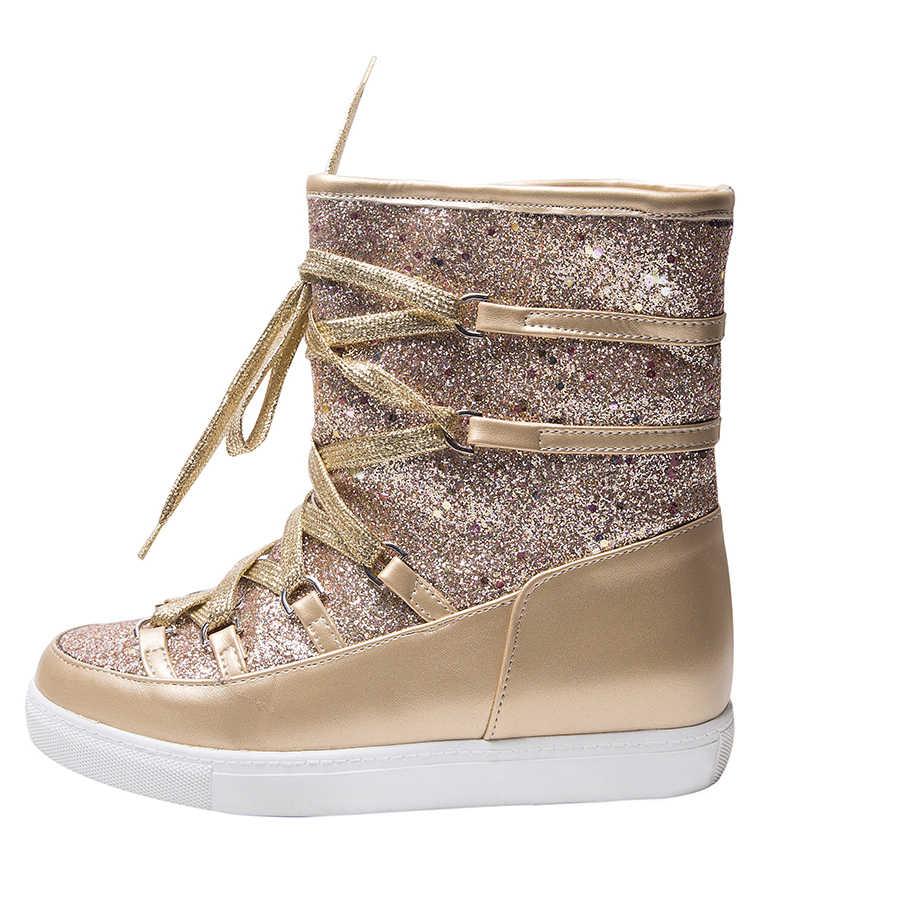 44c825b41b Women Snow Bootes Glitter Mid Length Booties Platform golden Boots Plush  Warm Winter Shoes Girls Fashion Shoes Shiny Black Boots