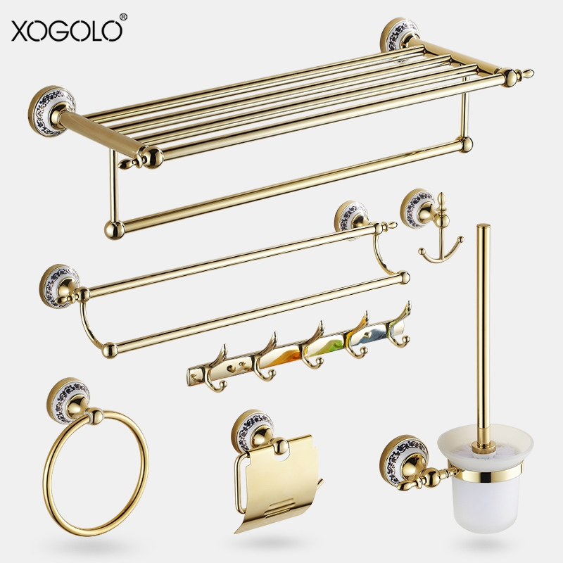 Xogolo Solid Copper Fashion Gold Wall Mounted Bath Hardware Sets Bathroom Paper Holder Towel Rack Bathroom Shelf Accessories xogolo solid copper bathroom bath towel shelf lavatory rack holder double layer towel bar accessories 8766 polished chrome