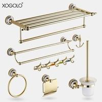 Xogolo Solid Copper Fashion Gold Wall Mounted Bath Hardware Sets Bathroom Paper Holder Towel Rack Bathroom Shelf Accessories