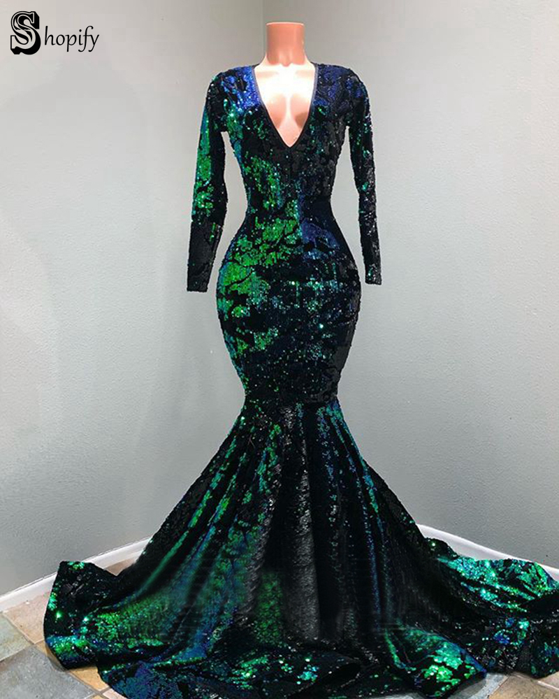 Sexy Mermaid Long Sleeve V neck Sparkly Black And Green Sequin African Girl Graduation Elegant Long Prom Dresses 2019