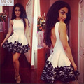 Hot Selling 2016 A Line Scoop Sexy White Satin Black Lace Short Prom Dresses Cocktail Gown