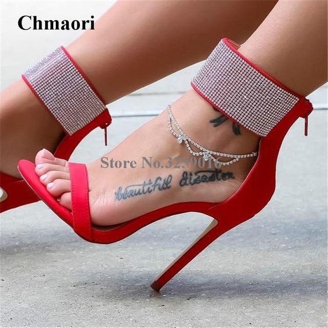 ebdb2f8aa977 New Fashion Women Suede Leather Ankle Wrap Rhinestone Gladiator Sandals  Luxury Crystal High Heel Sandals Dress Shoes