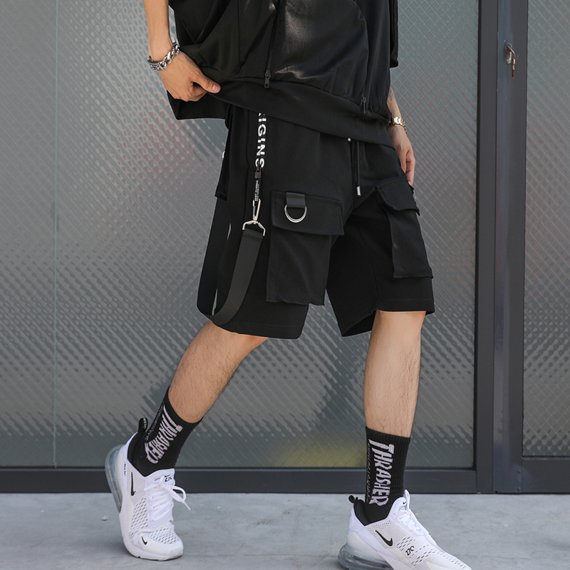 Hip Hop Summer Shorts Men 2019 Black Ribbons Streetwear Bermuda Man Shorts Multi-pocket Punk Casual Knee Length Short Pants Men