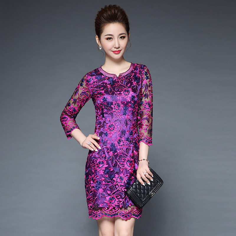 spring women high-grade mesh Embroidery bodycon <font><b>dress</b></font> fashion elegant vintage party <font><b>dresses</b></font> plus size <font><b>5XL</b></font> <font><b>sexy</b></font> <font><b>club</b></font> <font><b>dress</b></font> image