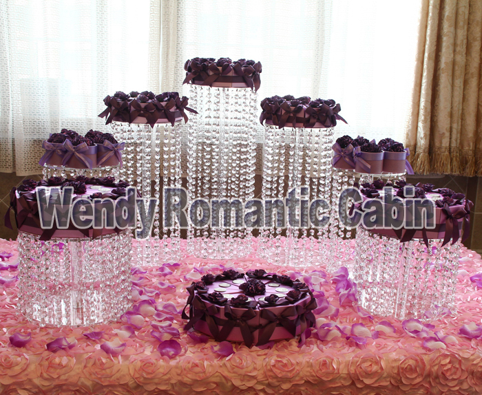Wendy Romantic Cabin Round acrylic transparent cupcake stands cake Stand 7pcs/lot- Wedding Centerpiece -Wedding Decoration