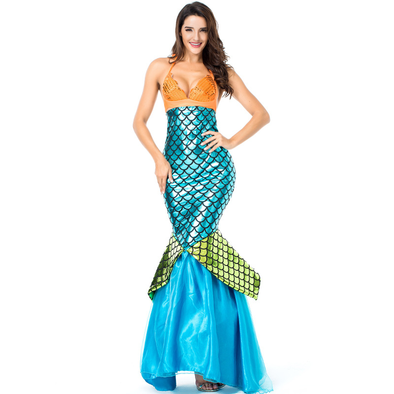 Umorden <font><b>Halloween</b></font> <font><b>Costumes</b></font> <font><b>for</b></font> <font><b>Women</b></font> Adult <font><b>Sexy</b></font> Mermaid <font><b>Costume</b></font> Carnival Party Fantasia Maxi Dress <font><b>Blue</b></font> Green Disfraces Mujer image