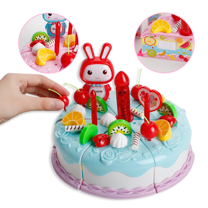 DIY Children play house toy Kitchen Cookware Set fruit birthday cake honestly creative educational toy Pretend gift for kids birthday cake
