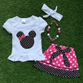 2016 new Minnie  baby  short sleeves Girls  outfits dot pink bow dress set summer  with matching accessories