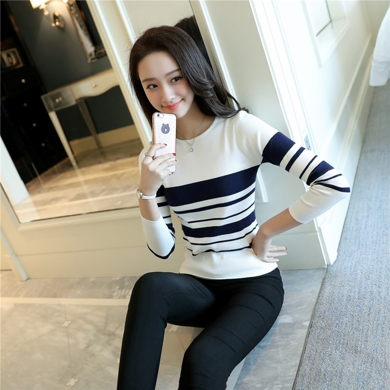 Sueter Mujer Invierno  Women Autumn Winter Striped Sweaters And Pullovers Crew Neck Long Sleeve Blusas De Inverno Feminina