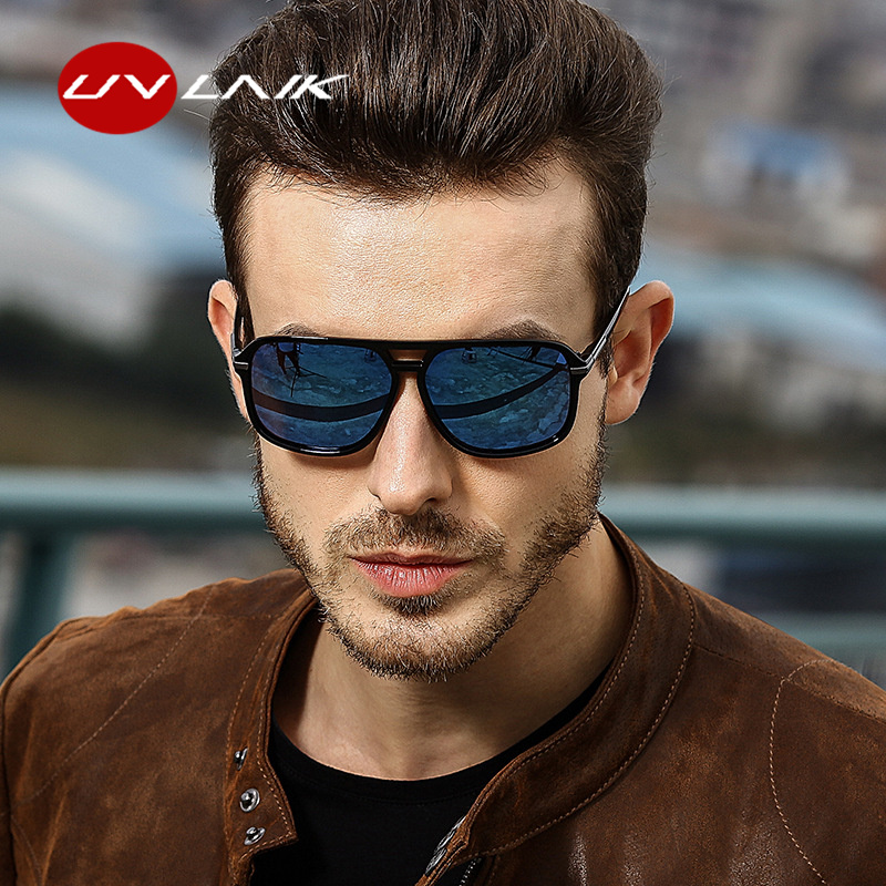 UVLAIK Polarized Sunglasses Men Oversized Square Mirror Driving Sun Glasses Brand Designer Retro Driver Sunglass UV400 Goggles image