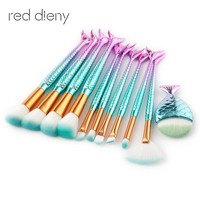 11Pcs Mermaid Shaped Makeup Brush Set Big Fish Tail Foundation Powder Makeup Brushes Eyeshadow Contour Blending