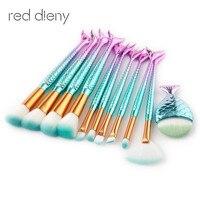 11Pcs Mermaid Shaped Makeup Brush Set Big Fish Tail Foundation Powder Makeup Brushes Eyeshadow Contour Blending