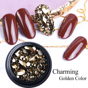 Image 4 - 1 Box Mixed 3D Rhinestones Nail Art Decorations Crystal Gems Sieraden Gold AB Shiny Stones Charm Glas Manicure Accessoires TR768
