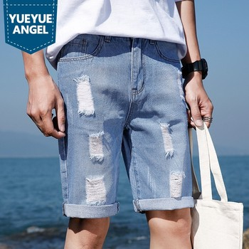 Casual Mens Shorts Summer New Fashion High Street Slim Fit Knee-Length Denim Trousers Straight Hole Ripped Jeans Short Man