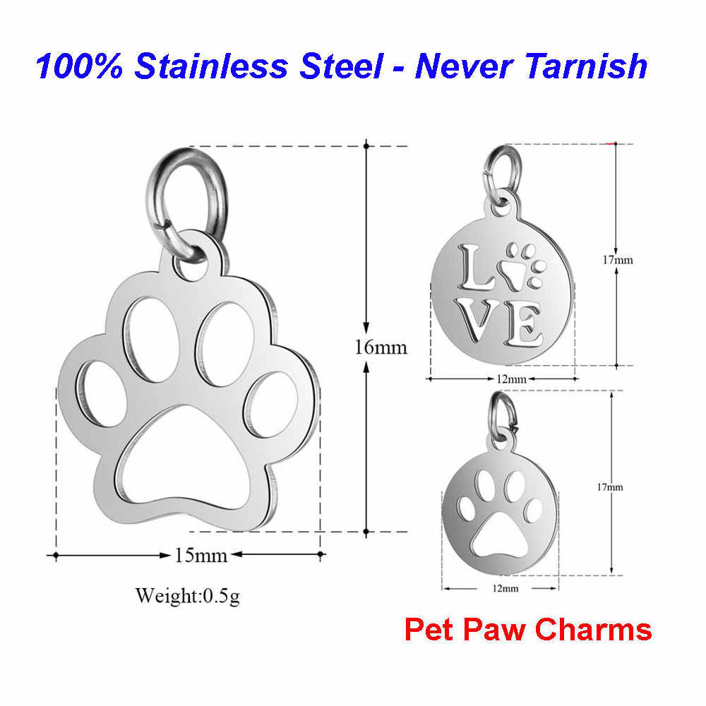 5pcs/lot 100% Stainless Steel Pet Paw Charms VNISTAR High Polished Dog Paw Necklace Pendant DIY Jewelry Findings Supplies