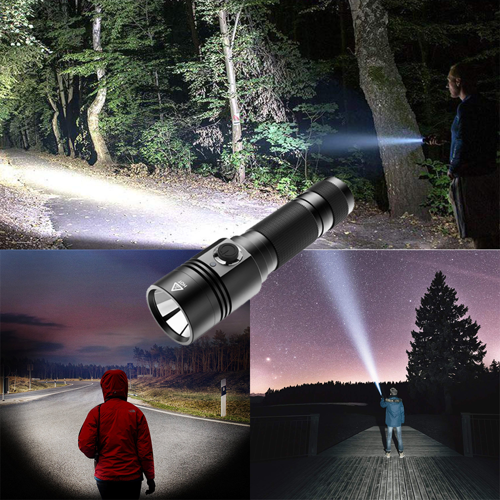 Купить с кэшбэком USB rechargeable LED flashlight 4  lighting mode super bright torch use 18650 battery for night lighting, camping, etc.