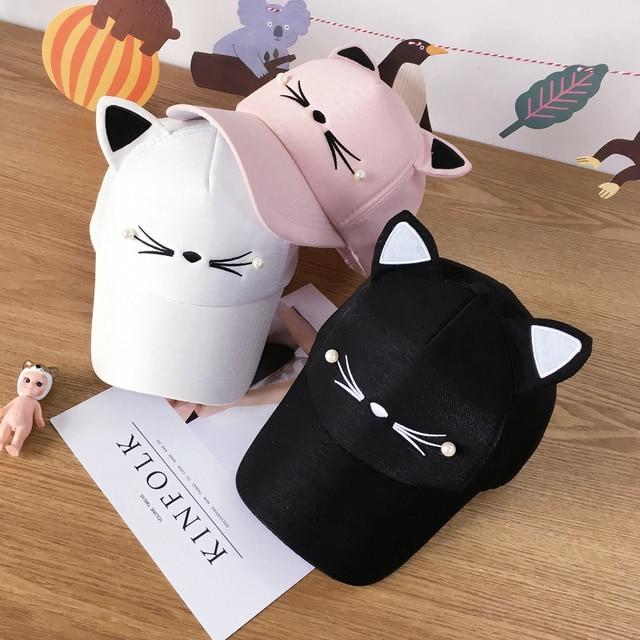 Snapback Cute Cat Ears Pink Adult Net Baseball Cap Summer Women's hats 2018 Brand Lovely Cartoon Adjustable Girl Mesh Cap Gift 2