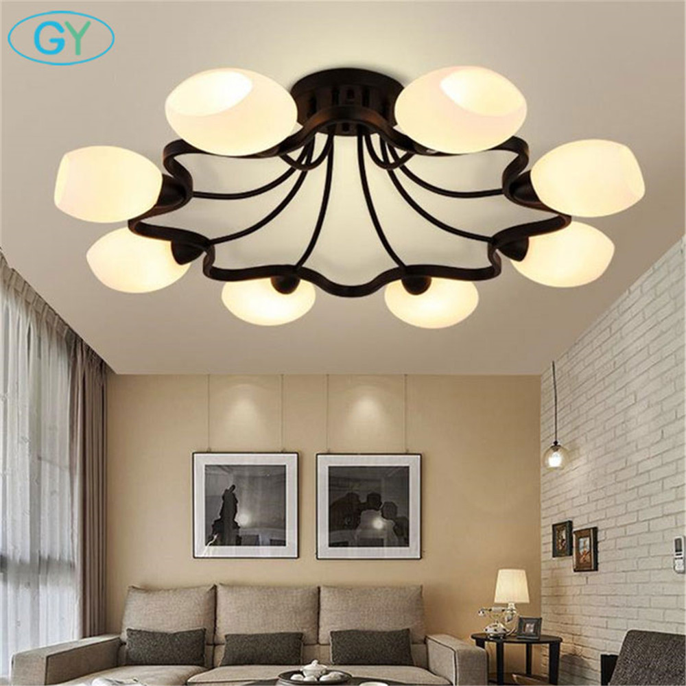 American Iron Ceiling chandelier modern European bedroom living room lamp restaurant 4/6/8/10 circulars milky lampshade lustres цена и фото