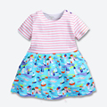 Summer Baby Girls Dress Kids Cotton Soft Dresses 2 Colors Dresses Upper Stripe Lower Parterns Next Clothing Style 1-6 years
