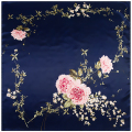 90cm*90cm New Fashion Silk Square Scarf Women Imitated Silk Loving Heart Shape Flower Rose Printed Scarves Shawl Hijab