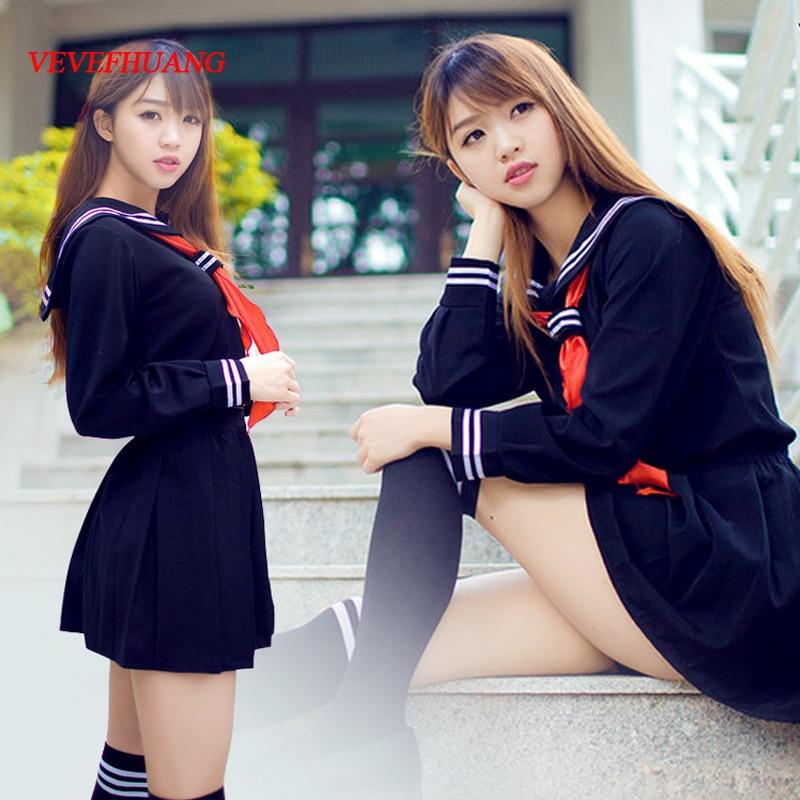 VEVEFHUANG JK Japanese School Sailor Uniform Fashion School Class Navy Sailor School Uniforms For Cosplay Girls Suit With Socks