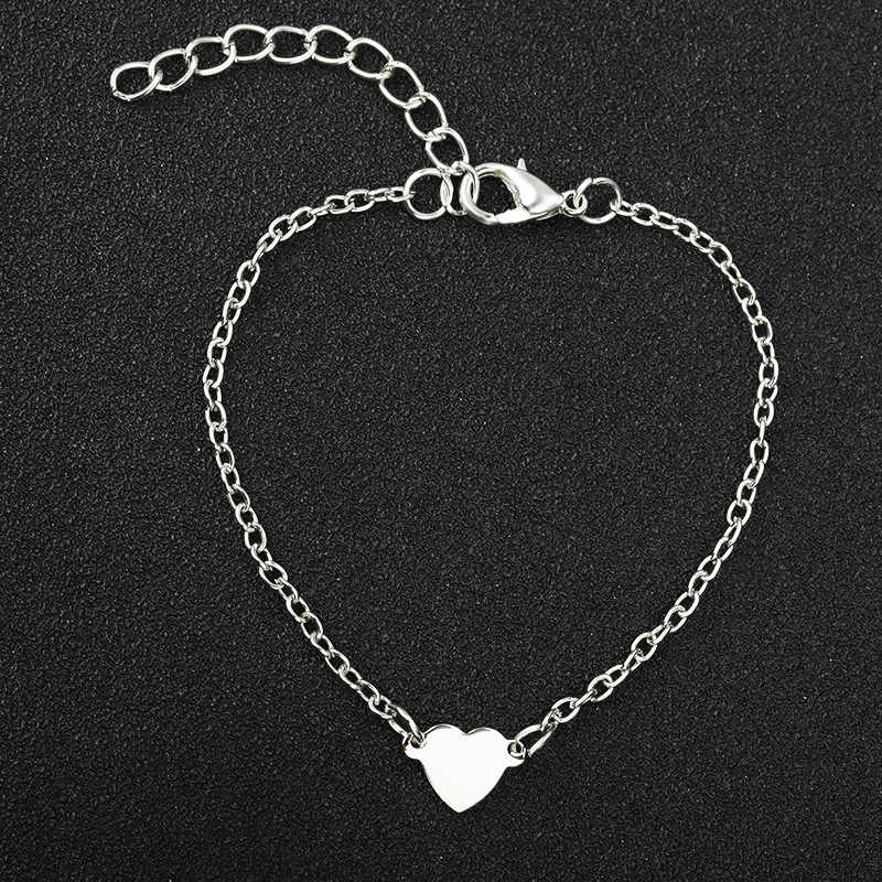 Heart Bracelet Simple Gold Silver Color Love Charms Bracelets Bangles Women Men Link Chain Wristbands Jewelry Hand Accessories