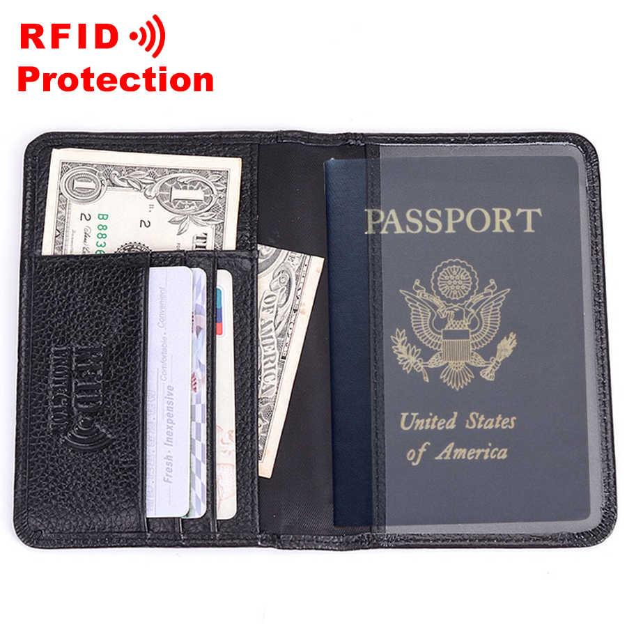 Cartera de cuero genuino para pasaporte con protección RFID portatarjetas DE CRÉDITO funda de pasaporte de viaje de alta calidad cartera negra para hombre R6