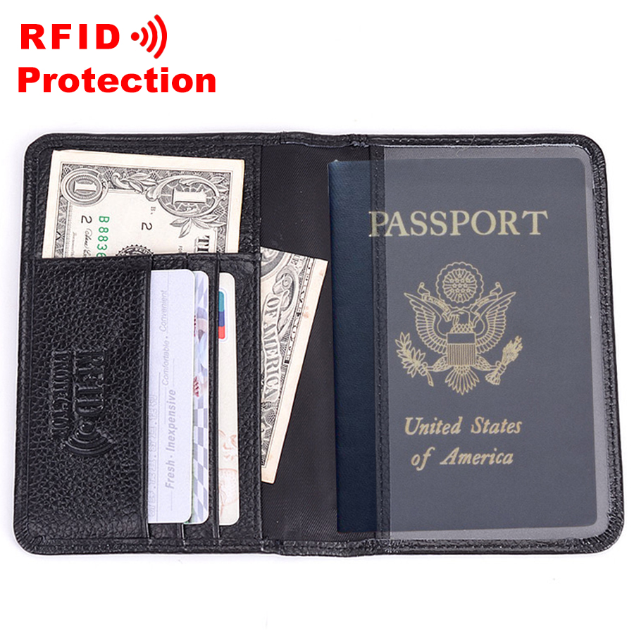 8986ba2f0fcd US $7.99 65% OFF Genuine Leather Passport Wallet RFID Protection Credit  Card Holder High Quality Travel Passport Cover Case Black Wallet Men R6-in  ...