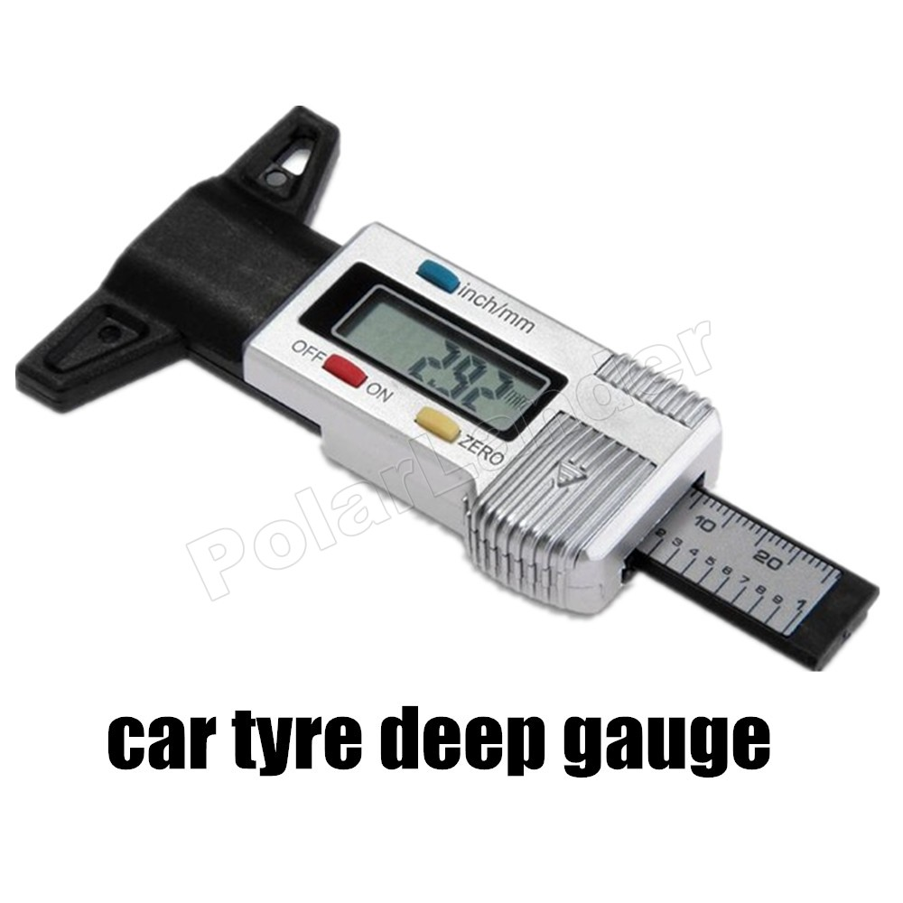 Auto Car Mortorcycle LCD Digital Tyre Gauge Tire Tread Depth Tyre Tester Diagnostic Tools detector tester brake shoe gauge