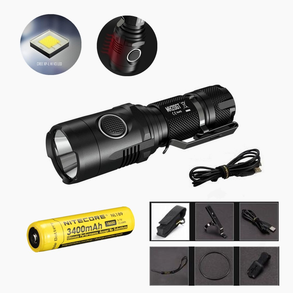 Nitecore MH20GT Flaslhight XP-L HI V3 LED 1000 Lumens USB Rechargeable EDC Torch with NL1834 18650 3400mah upgrade Nitecore MH20 nitecore p12gt cree xp l hi v3 1000lm led flashlight 320 meter torch new i2 charger 18650 3400mah battery for search