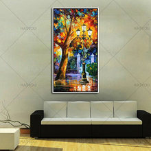 Free Shipping Knife Street Lamp Landscape Picture 100% Handmade Modern Abstract Night City Oil Painting Canvas Home Wall Decor(China)