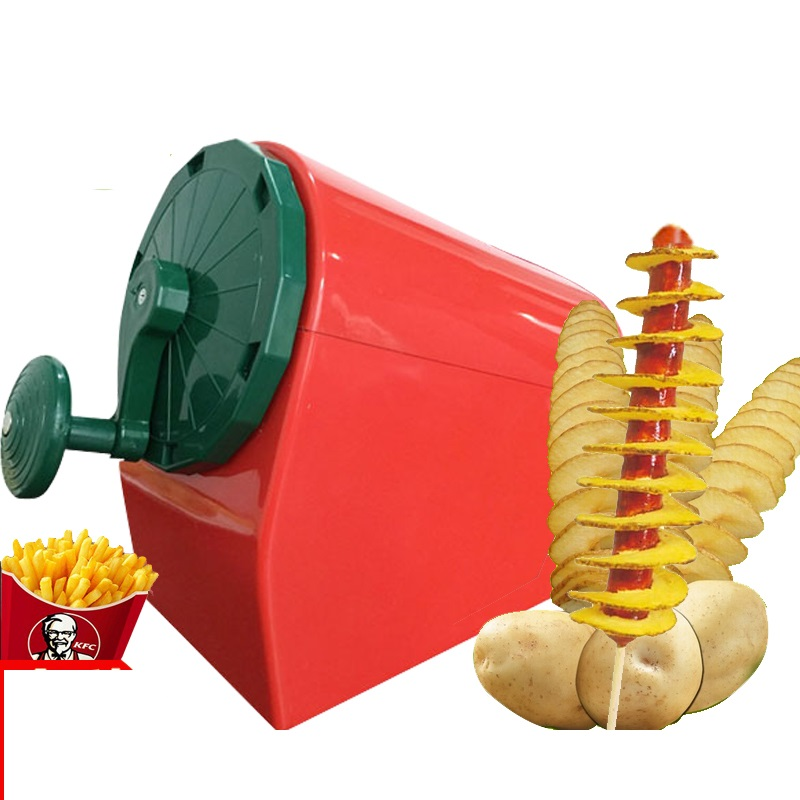 Manual Semi-Automatic Tower Potato Slicer Machine Commercial Tornado Carrot Cutter Slicer French Chips Slicer Machine High Quali