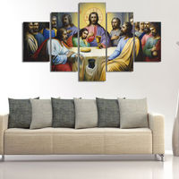 HD Print 5 pcs canvas wall art print Jesus The Last Supper painting art Home Decor Canvas Art Print Painting on canvas no frame
