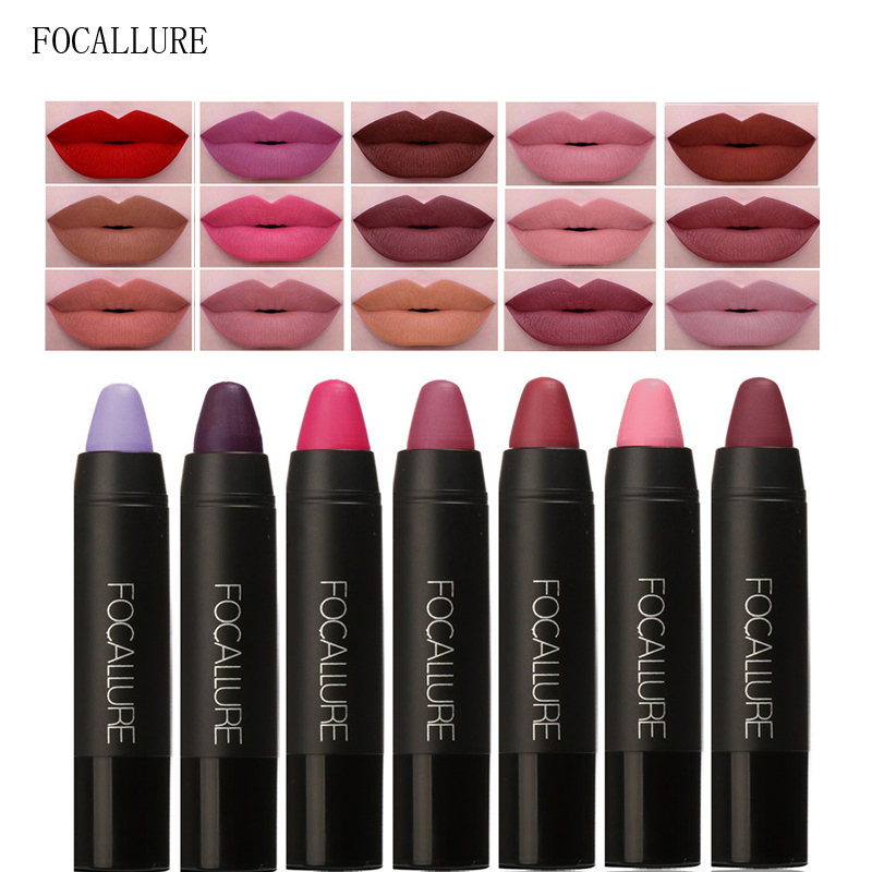 FOCALLURE 19 Farben Wasserdicht <font><b>Matte</b></font> Lippenstift Make-Up Kosmetik Langlebige Nude Frauen Lippenstifte Gloss Lip Make Up Buntstifte image