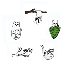 High Quality Elf Wacky Pussy Cartoon Cute Enamel Brooch Pins Hat Jacket Sweater Decoration Jewelry Animal Brooches wholesale