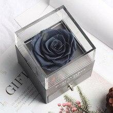 Консервированный в стеклянном куполе вечная роза украшения красный фарфор Подарочная коробка можно положить кольцо День Святого Валентина подарок на день рождения, подарки для женщин