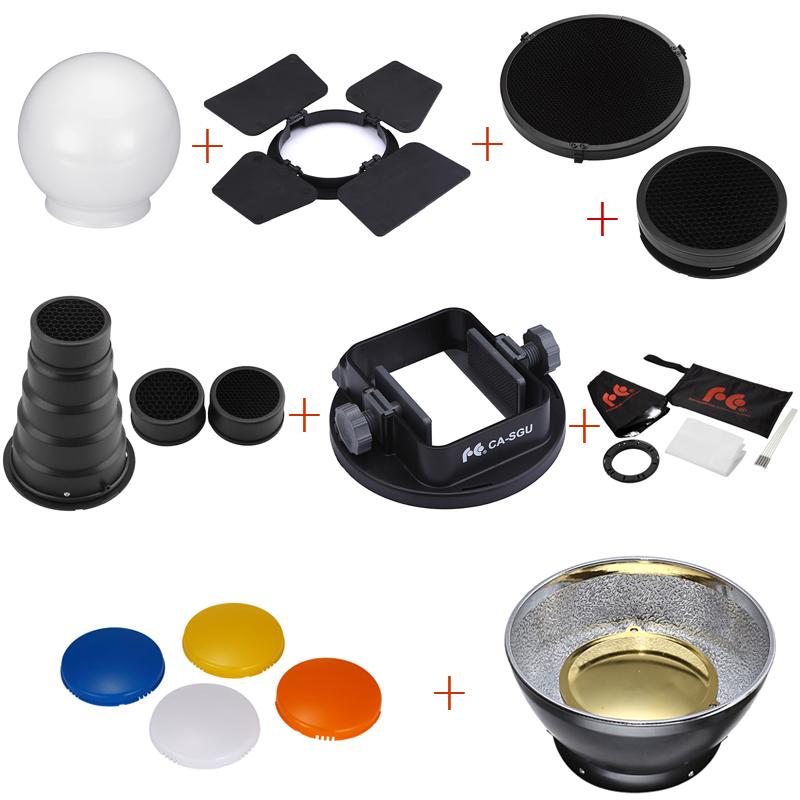 Prix pour 9 PCS K9 Flash Speedlite Accessoires kit Snoot Conique + Réflecteur + diffuseur + Miel Peigne + Softbox + gels + Barndoor + montage